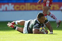 Halani Aulika of London Irish dives over but has his try disallowed, although he does cross the line again shortly afterwards to score during the Aviva Premiership match between London Irish and Gloucester Rugby at the Madejski Stadium on Saturday 8th September 2012 (Photo by Rob Munro)