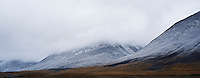 Fresh autumn snow on rugged mountain landscape, Kungsleden trail, Lapland, Sweden