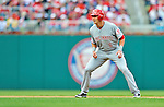 12 April 2012: Cincinnati Reds outfielder Drew Stubbs in action against the Washington Nationals at Nationals Park in Washington, DC. The Nationals defeated the Reds 3-2 in 10 innings to take the first game of their 4-game series. Mandatory Credit: Ed Wolfstein Photo