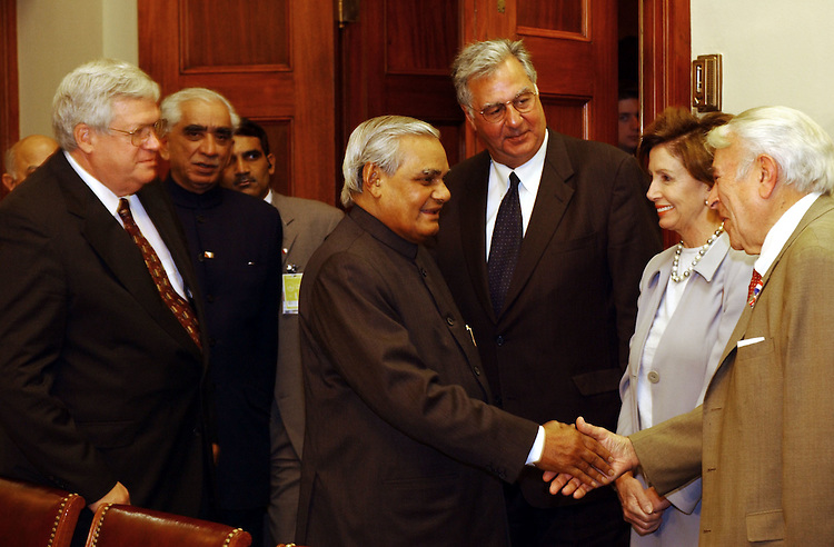 1india110701 -- Speaker of the House J. Dennis Hastert, R-Ill., Jaswant Singh, F.M. of India, Prime Minister Atal Vajpayee, Richard Army, R-Texas, Nancy Pelosi, D-CA., and Benjamin A. Gilman, R-N.Y. during a luncheon hosted by the speakers office.