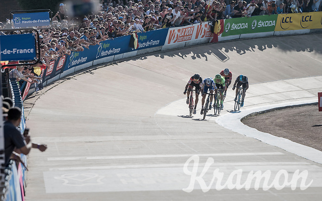 Sprint finish with Greg Van Avermaet (BEL/BMC) &amp; Zdenek Stybar (CZE/Quick Step Floors) fighting for victory in the legendary Roubaix velodrome<br /> <br /> 115th Paris-Roubaix 2017 (1.UWT)<br /> One Day Race: Compi&egrave;gne &rsaquo; Roubaix (257km)
