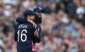 June 10th 2017, Edgbaston, Birmingham, England;  ICC Champions Trophy Cricket, England versus Australia; Eoin Morgan celebrates with Ben Stokes of England after catching out Aaron Finch of Australia