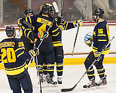 Hampus Gustafsson (Merrimack - 20), Jace Hennig (Merrimack - 9), Marc Biega (Merrimack - 4), John Gustafsson (Merrimack - 28), Chris LeBlanc (Merrimack - 16) - The Boston College Eagles defeated the visiting Merrimack College Warriors 2-1 on Wednesday, January 21, 2015, at Kelley Rink in Conte Forum in Chestnut Hill, Massachusetts.