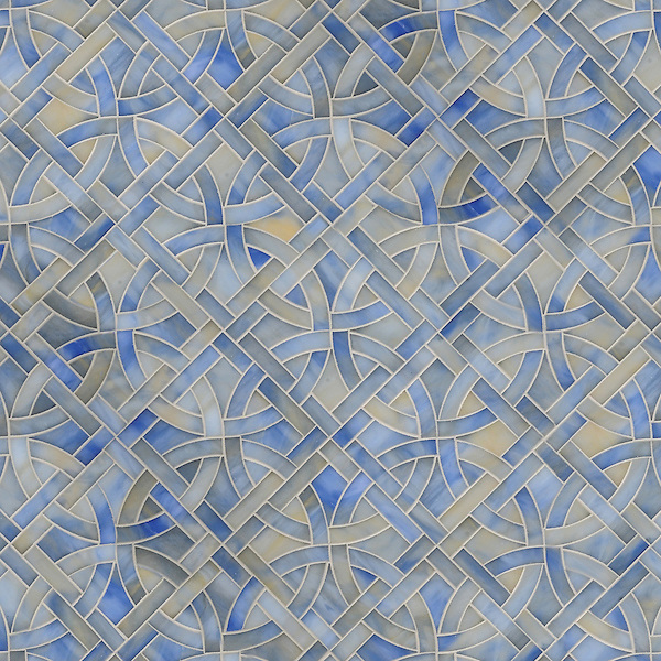 Poco Via, waterjet jewel glass mosaic, shown in Chalcedony, is part of the Miraflores Collection by Paul Schatz for New Ravenna Mosaics.