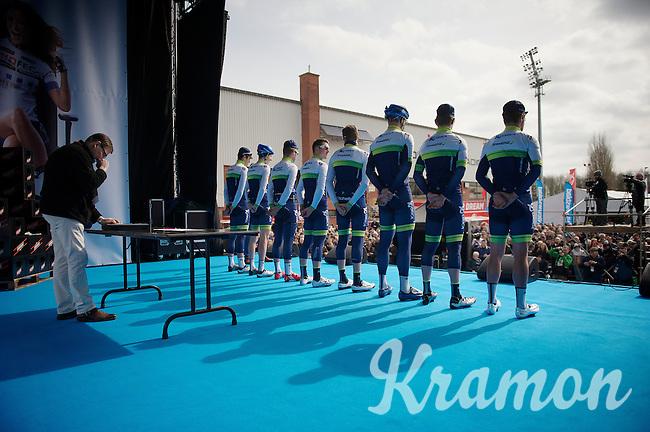 Orica-GreenEDGE team presentation on the start podium of the 58th E3 Harelbeke 2015
