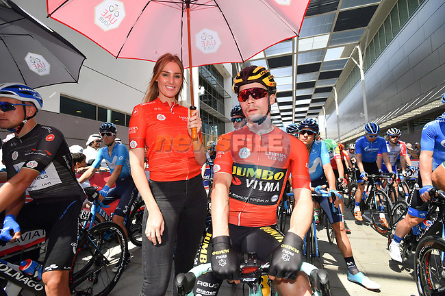 Race leader Red Jersey Primoz Roglic (SLO) Team Jumbo-Visma lined up for the start of Stage 3 of the 2019 UAE Tour, running 179km form Al Ain to Jebel Hafeet, Abu Dhabi, United Arab Emirates. 26th February 2019.<br /> Picture: LaPresse/Massimo Paolone | Cyclefile<br /> <br /> <br /> All photos usage must carry mandatory copyright credit (© Cyclefile | LaPresse/Massimo Paolone)