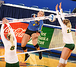 BROOKINGS, SD - OCTOBER 28: Ashlynn Smith #4 from South Dakota State gets the ball past Bella Lien #8 and Alexis Bachmeier #13 from North Dakota State during their match Sunday afternoon at Frost Arena in Brookings. (Photo by Dave Eggen/Inertia)
