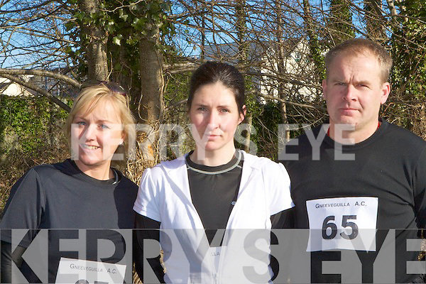 Beatrice Colleran, Susan Lee and David Enright Killarney setting the pace at the third Gneeveguilla AC Winter Road Race in Killarney on Saturday