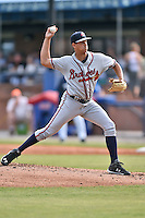 Rome Braves starting pitcher Alec Grosser (30) delivers a pitch during a game against the Asheville Tourists on May 16, 2015 in Asheville, North Carolina. The Braves defeated the Tourists 6-3. (Tony Farlow/Four Seam Images)