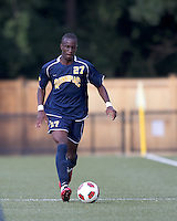 Quinnipiac University forward Demba Sylla (27) at midfield. Boston College defeated Quinnipiac, 5-0, at Newton Soccer Field, September 1, 2011.