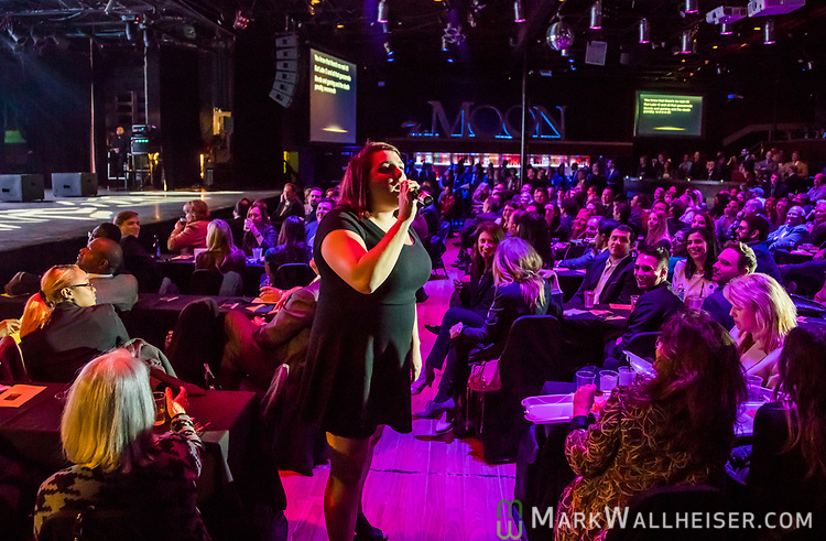 Jessica Bakeman of POLITICO Florida and president of Capitol Press Corps sings in the audience during the 62nd Annual Press Skits 2017, The Crony Awards, sponsored by the Florida Capitol Press Corps, held at The Moon in Tallahassee, Florida March 14, 2017.  The funds raised go to the Barbara Frye Scholarship Fund supporting Florida journalism students attending Florida schools.