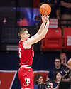 Jan 24, 2018; Champaign, IL, USA; Indiana Hoosiers guard Zach McRoberts (15) shoots from three point range during the first half against the Illinois Fighting Illini at State Farm Center. Mandatory Credit: Mike Granse-USA TODAY Sports