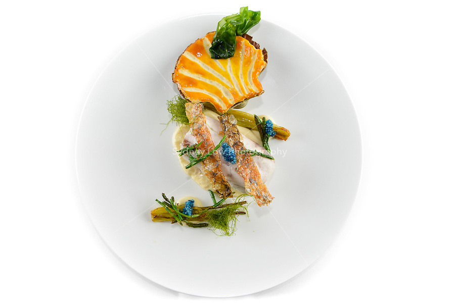Melbourne, 30 May 2017 - The fish dish by Daniel Soto of the Montague Hotel in South Melbourne at the Australian selection trials of the Bocuse d'Or culinary competition held during the Food Service Australia show at the Royal Exhibition Building in Melbourne, Australia. Photo Sydney Low