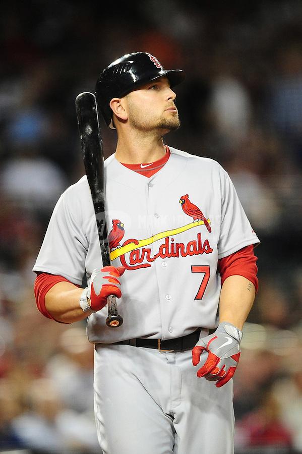 Apr. 12, 2011; Phoenix, AZ, USA; St. Louis Cardinals outfielder Matt Holliday against the Arizona Diamondbacks at Chase Field. Mandatory Credit: Mark J. Rebilas-