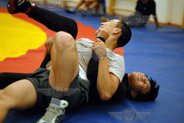 Khuresh wrestlers practise and train at a sports complex in Kyzyl.