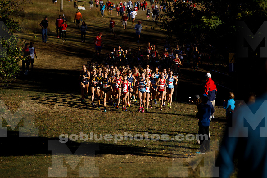 Michigan runners including Gina Sereno (296) head the pack early at the Sam Bell Invitational at Indiana University in Bloomington, Indiana on Saturday, Sept. 30, 2017. (Photo by James Brosher)