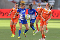 Houston, TX - Sunday Sept. 11, 2016: Louise Schillgard, Janine Beckie during a regular season National Women's Soccer League (NWSL) match between the Houston Dash and the Boston Breakers at BBVA Compass Stadium.