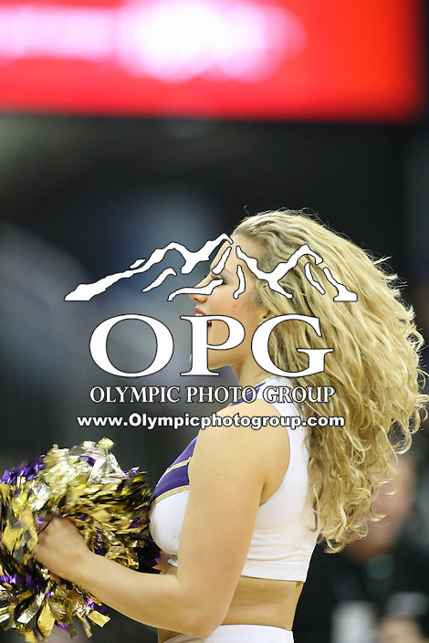 Feb 13, 2013:  Washington cheerleader Hannah Tripp entertained fans during a timeout against Oregon.  Oregon defeated Washington 65-52 at Alaska Airlines Arena in Seattle, Washington...