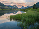 Bridger-Teton National Forest, Wyoming:<br /> Evening clouds over the Wind River Range with reflections on the Green River