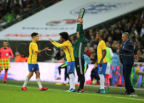14th November 2017, Wembley Stadium, London, England; International football friendly, England versus Brazil; Philippe Coutinho of Brazil is substituted for Willian of Brazil