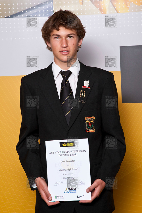 Orienteering winner Gene Beveridge from Massey High School. ASB College Sport Auckland Secondary School Young Sports Person of the Year Awards held at Eden Park on Thursday 12th of September 2009.