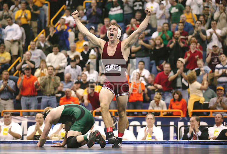 20 MARCH 2004:  Stanford's Matt Gentry celebrates after defeating Ohio University's Jake Percival for the 157 title at the Division 1 Wrestling Championships held at the Savvis Center in St. Louis, MO.  Gentry won the match by a score of 4-2.  Stephanie Cordle/NCAA Photos2003-2004: Stanford Wrestling action in Stanford, CA.<br />Photo credit mandatory: David Gonzales