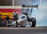 Feb 3, 2017; Chandler, AZ, USA; NHRA top fuel driver Antron Brown during Nitro Spring Training preseason testing at Wild Horse Pass Motorsports Park. Mandatory Credit: Mark J. Rebilas-USA TODAY Sports