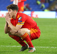 19th November 2019; Cardiff City Stadium, Cardiff, Glamorgan, Wales; European Championships 2020 Qualifiers, Wales versus Hungary; Daniel James of Wales reacts as his shot narrowly misses the goal - Editorial Use