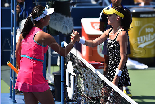 27.08.2014. Flushing Meadows, NY, USA. Day 3 of the US Open championships. Shuai Peng (chi) vs Radwanska (Pol)