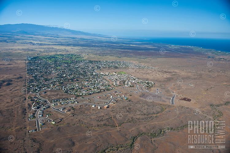 Aerial view of Waikoloa Village looking towards Hualalalai
