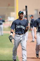 Guillermo Pimentel #27 of the Seattle Mariners plays in a minor league spring training game against the San Diego Padres at the Padres minor league complex on March 19, 2011  in Peoria, Arizona. .Photo by:  Bill Mitchell/Four Seam Images.