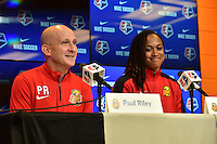 Houston, TX - Saturday Oct. 08, 2016: Paul Riley, Jessica McDonald during a press conference prior to the National Women's Soccer League (NWSL) Championship match between the Washington Spirit and the Western New York Flash at Houston Sports Park.