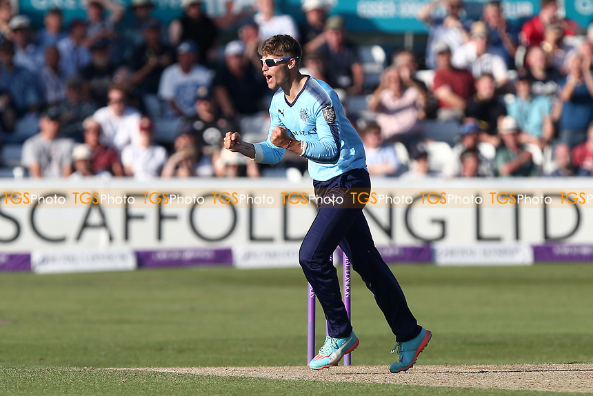 Karl Carver of Yorkshire celebrates taking the wicket of Varun Chopra during Essex Eagles vs Yorkshire Vikings, Royal London One-Day Cup Play-Off Cricket at The Cloudfm County Ground on 14th June 2018