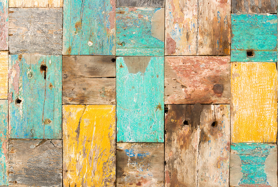 worn wooden pieces of wood jointed together to form a panel