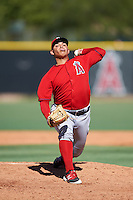Los Angeles Angels of Anaheim pitcher Jose Suarez (56) during an Instructional League game against the Colorado Rockies on October 6, 2016 at the Tempe Diablo Stadium Complex in Tempe, Arizona.  (Mike Janes/Four Seam Images)