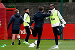 Paul Pogba of Manchester United warms up wearing trainers during the Manchester United open training session at the Carrington Training Centre, Manchester. Picture date: May 19th 2017. <br /> Pic credit should read: Matt McNulty/Sportimage
