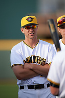 Bradenton Marauders Jordan George (10) before a game against the Clearwater Threshers on April 18, 2017 at LECOM Park in Bradenton, Florida.  Clearwater defeated Bradenton 4-2.  (Mike Janes/Four Seam Images)