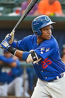 Michael Medina (25) of the Ogden Raptors at bat against the Great Falls Voyagers in Pioneer League action at Lindquist Field on July 16, 2015 in Ogden, Utah. Ogden defeated Great Falls 5-2. (Stephen Smith/Four Seam Images)