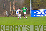 Kerry- Jesse O'Sullivan gets away from Dublin - James Holywood in the Kerry against DDSL in the Youths Cup at Mounthawk park on Sunday