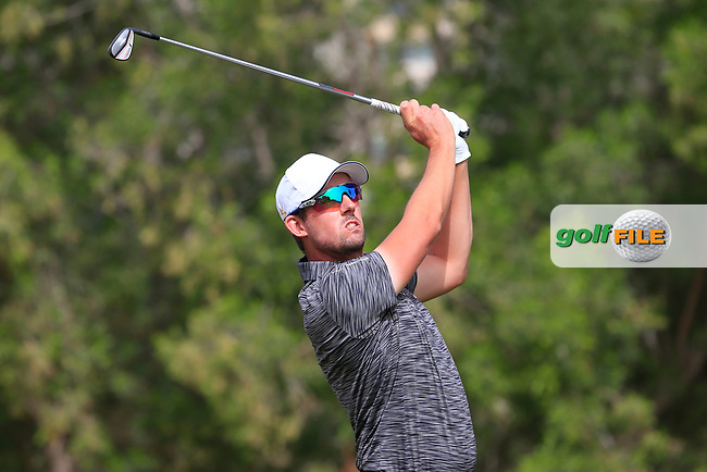 Alexander Bjork (SWE) on the 4th tee during Round 1 of the Omega Dubai Desert Classic, Emirates Golf Club, Dubai,  United Arab Emirates. 24/01/2019<br /> Picture: Golffile | Thos Caffrey<br /> <br /> <br /> All photo usage must carry mandatory copyright credit (&copy; Golffile | Thos Caffrey)