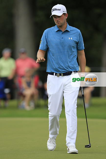 Bernd Wiesberger (AUT) sinks his birdie putt on the 10th green during Friday's Round 2 of the 2017 PGA Championship held at Quail Hollow Golf Club, Charlotte, North Carolina, USA. 11th August 2017.<br /> Picture: Eoin Clarke | Golffile<br /> <br /> <br /> All photos usage must carry mandatory copyright credit (&copy; Golffile | Eoin Clarke)