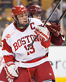 Garrett Noonan (BU - 13), Scott Savage (BC - 28) - The Boston College Eagles defeated the Boston University Terriers 3-1 (EN) in their opening round game of the 2014 Beanpot on Monday, February 3, 2014, at TD Garden in Boston, Massachusetts.