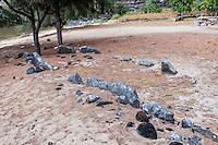 Authentic ancient Hawaiian navigational stones in Nualolo Kai village, Na Pali coast, Kauai