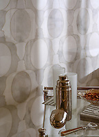 Janus, a handmade mosaic shown in polished Carrara and Thassos, is part of the Illusions™ Collection by Sara Baldwin Designs for New Ravenna.