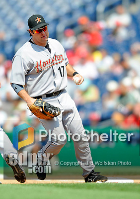 13 July 2008: Houston Astros' first baseman Lance Berkman makes an unassisted out  during a game against the  Washington Nationals at Nationals Park in Washington, DC. The Astros shut out the Nationals 5-0 to take the rubber match of their 3-game series, as both teams head into the All-Star break and the second half of the 2008 season...Mandatory Photo Credit: Ed Wolfstein Photo