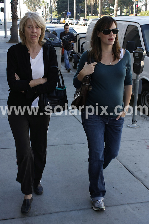 **ALL ROUND PICTURES FROM SOLARPIX.COM**.**WORLDWIDE SYNDICATION RIGHTS**.**NO PUBLICATION IN AUSTRALIA, NEW ZEALAND,.DENMARK, GERMANY OR USA**.A very pregnant Jennifer Garner takes a casual stroll through the streets of Santa Monica with a friend. Santa Monica, California, USA. 13th November 2008..JOB REF: 7884 LAP (CWA)      DATE: 13_11_2008.**MUST CREDIT SOLARPIX.COM OR DOUBLE FEE WILL BE CHARGED* *UNDER NO CIRCUMSTANCES IS THIS IMAGE TO BE REPRODUCED FOR ANY ONLINE EDITION WITHOUT PRIOR PERMISSION*