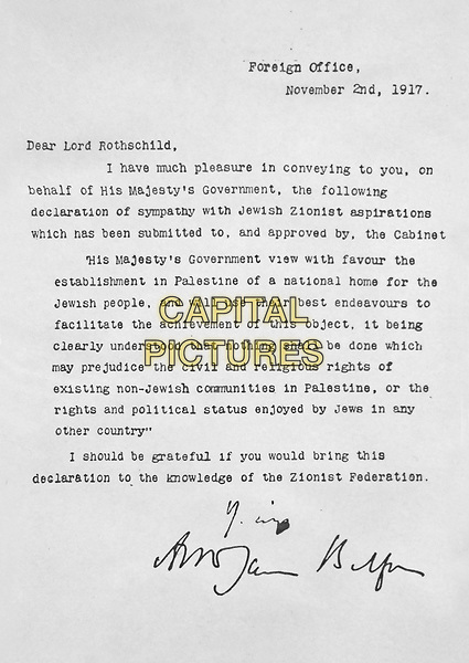 The Balfour Declaration was a public statement issued by the British government during World War I announcing support for the establishment of a &quot;national home for the Jewish people&quot; in Palestine, then an Ottoman region with a minority Jewish population.<br /> *Filmstill - Editorial Use Only*<br /> CAP/PLF<br /> Supplied by Capital Pictures
