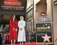 LOS ANGELES, CA. November 19, 2019: Idina Menzel, Kristen Bell & Josh Gad at the Hollywood Walk of Fame Star Ceremony honoring Kristen Bell & Idina Menzel.<br /> Pictures: Paul Smith/Featureflash