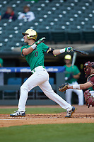 Jake Shepski (0) of the Notre Dame Fighting Irish follows through on his swing against the Florida State Seminoles in Game Four of the 2017 ACC Baseball Championship at Louisville Slugger Field on May 24, 2017 in Louisville, Kentucky. The Seminoles walked-off the Fighting Irish 5-3 in 12 innings. (Brian Westerholt/Four Seam Images)