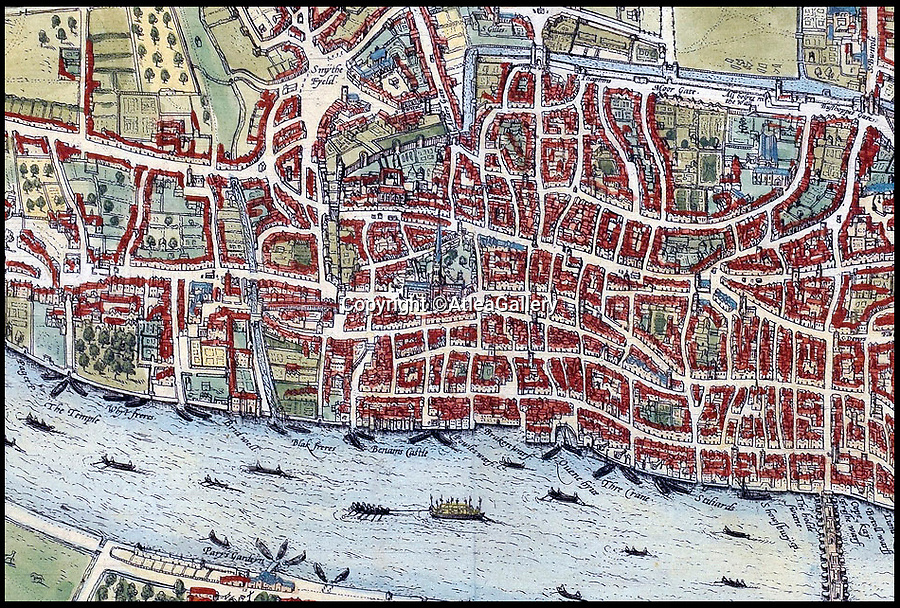 BNPS.co.uk (01202 558833)<br />Pic:  AtleaGallery/BNPS<br /> <br /> Close up of the map showing the old St Paul's Cathedral in the centre.<br /> <br /> An extremely rare example of the earliest surviving map of London has emerged for sale for £11,000.<br /> <br /> The 1572 city plan by engraver Frans Hogenburg provides a fascinating bird's eye view of the nation's capital.<br /> <br /> It reveals there was a large settlement north of the Thames, but south of it was very sparsely populated.<br /> <br /> There are drawings of many boats weaving their way down the river, which could only be crossed by the Old London Bridge.